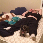 Welcome home daddy. Oh momma see I knocked them out